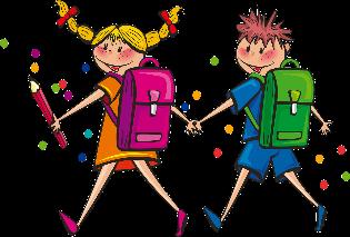 Deklica in deček s šolskima torbama na rami. Držita se za roki. Deklica v levi roki drži dolgo pisalo. Okoli njiju so pisane pike. Izgledata vesela.